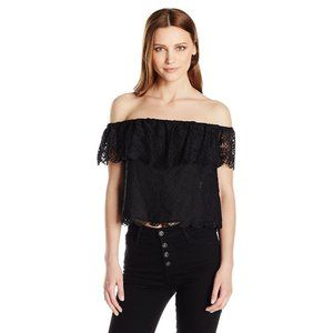 Guess Lace Black Off Shoulder Crop Top Size M